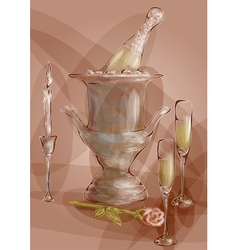 champagne with red rose vector image vector image