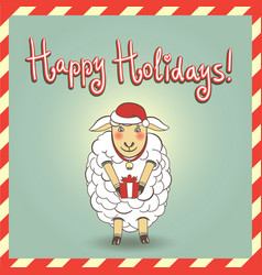 christmas with cute sheep vector image