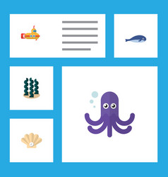 flat icon marine set of tentacle conch cachalot vector image