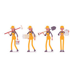 set of female worker in yellow overall with vector image