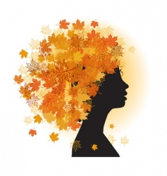 stylized woman hairstyle autumn season vector image vector image