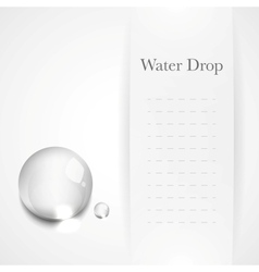 Transparent water drop on light gray background vector image vector image