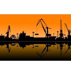 Working cranes in sea port vector