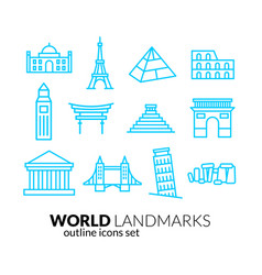 world landmarks outline icons set vector image