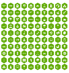 100 kids games icons hexagon green vector image