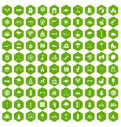 100 kids games icons hexagon green vector