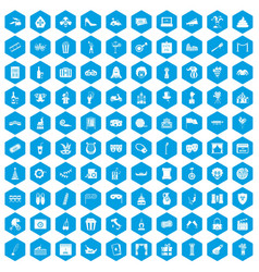 100 mask icons set blue vector
