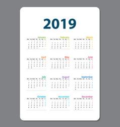 2019 calendar templatecalendar set of 12 vector
