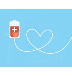 A blood donation bag with tube shaped as a heart vector image