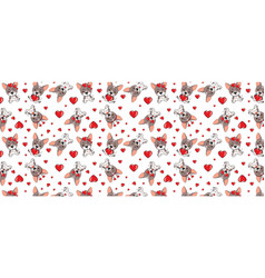 A pattern with small brown dogs with red hearts on vector