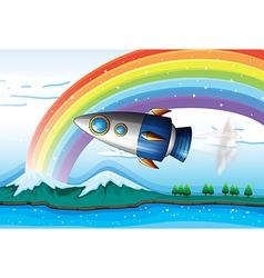 A spaceship near the rainbow above the ocean vector