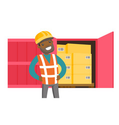 African worker and cargo container with boxes vector
