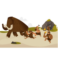 Ancient caveman with prehistoric weapons hunting vector