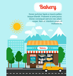 bakery advertising banner with shop building vector image