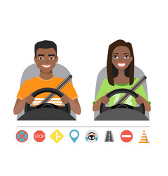black african american man and woman driving a car vector image
