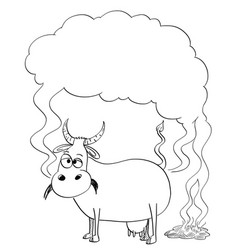 black and white drawing or of cow producing vector image