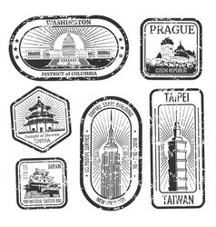 Black and white vintage travel stamps with major vector