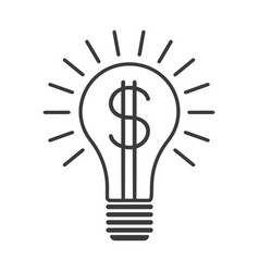 black outline lightbulb with dollar vector image