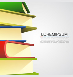 Book stack on white background vector