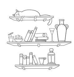 Books cat and other things on the shelves vector