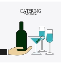 bottle cocktail drink catering icon vector image