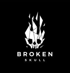 broken skull tech glass geometric polygonal logo vector image