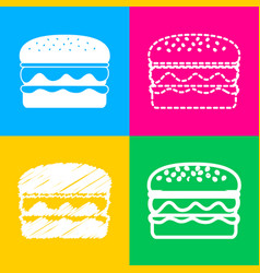 burger simple sign four styles of icon on four vector image
