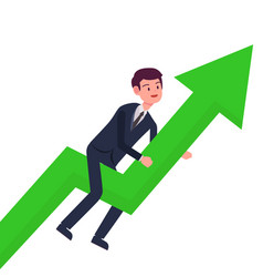 Business man grow up with green arrow growth vector