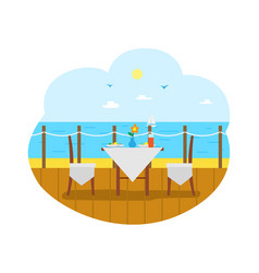 cafe restaurant terrasse wooden pier with table vector image