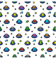 Childish ufo aliens cartoon seamles pattern vector