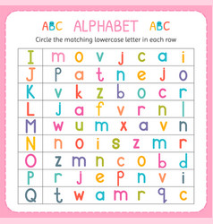 Circle matching lowercase letter in each row vector