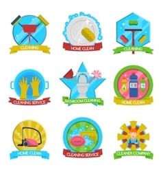 Cleaning Emblems Set vector image