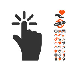 Click icon with love bonus vector
