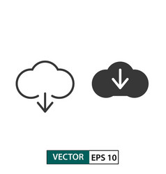 cloud download icon set isolated on white eps 10 vector image