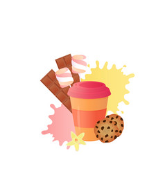 coffee to go cookies with chocolate chips vector image