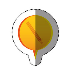 Color sticker with pencil icon in circular speech vector