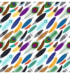 Colorful feathers seamless background vector
