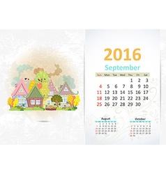 Cute sweet town calendar for 2016 September vector image