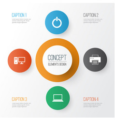 Device icons set collection of laptop personal vector