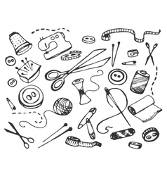 Doodle set of tailor business vector
