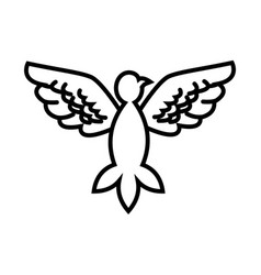 dove peace flying wings symbol outline vector image