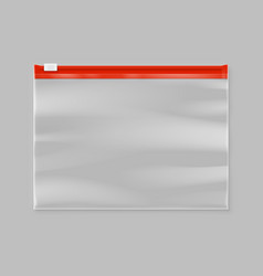 Empty transparent plastic zipper slider bag vector