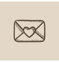 Envelope with heart sketch icon vector image