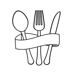 Figure cutlery with elastic icon image vector