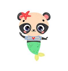 flat cute cartoon panda mermaid vector image