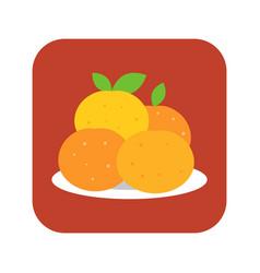Four mandarin orange in plate vector
