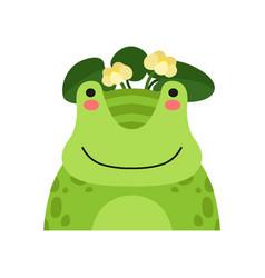 funny frog in wreath of lotus flowers cute vector image