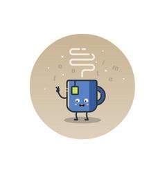 funny tea cup cartoon character vector image