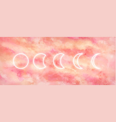Galaxy background with moon phases vector