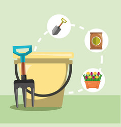 gardening work bucket fork shovel flowers image vector image